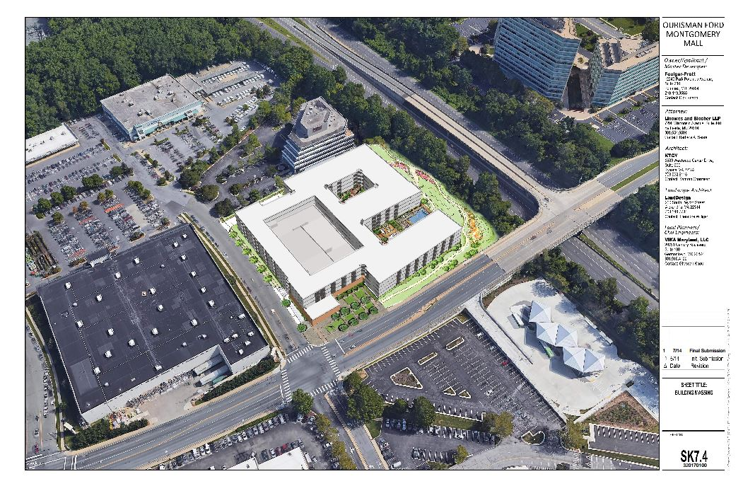 Rendering of the proposal for apartments at the former Ford dealership at Westfield Montgomery in Bethesda.