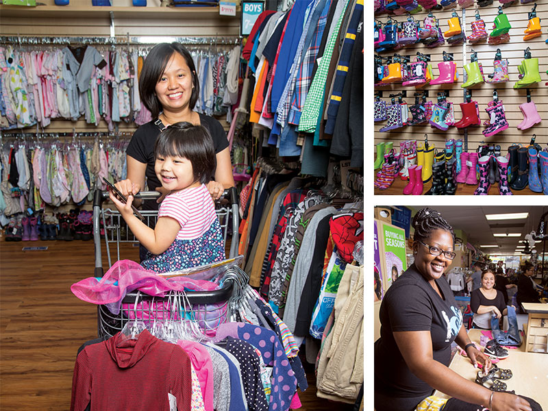 678624a61 Kid to Kid buys and sells children's clothing and equipment. Staff members  Deborah Mba (left) and Lorena Coto evaluate items at the store in Rockville.