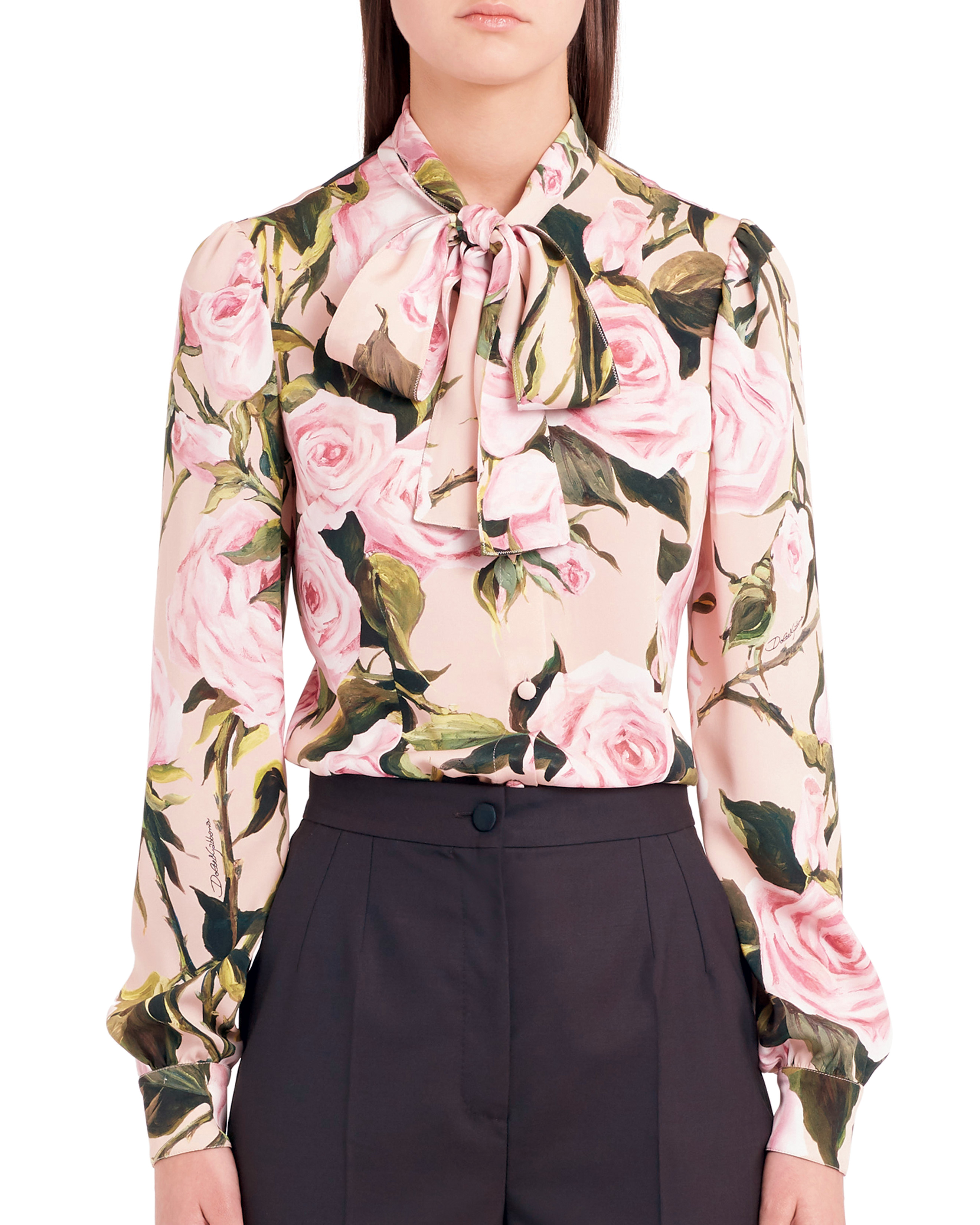e72352b469e6a3 Courtesy photo. Dolce   Gabbana s rose print tie-neck stretch silk blouse  ...