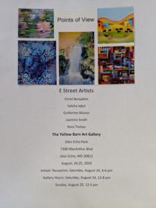 POINTS OF VIEW ART EXHIBIT @ THE YELLOW BARN GALLERY at THE GLEN ECHO PARK