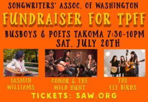 SAW Fundraiser for TPFF w/ the Fly Birds, Conor & the Wild Hunt, Yasmin WIlliams @ Busboys and Poets Takoma