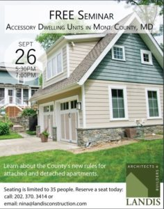 Accessory Dwelling Seminar: Understanding the new Montgomery County Regulations @ Landis Architects/Builders