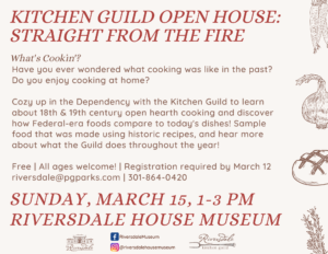 Kitchen Guild Open House: Straight from the Fire @ Riversdale House Museum |  |  |
