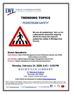 Pedestrian Safety Panel Discussion @ Rockville Library |  |  |