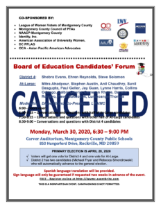 CANCELLED - Board of Education Candidates Forum @ Carver Auditorium | | |