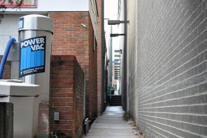 This alley between the shuttered BP gas station and county parking garage on Old Georgetown Road could be the entrance to a future art incubator