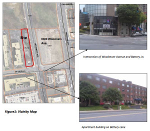 Site of planned Woodmont View apartment building, via Montgomery County Planning Department