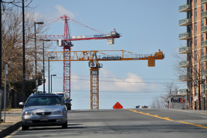 Cranes rise from the Pike & Rose construction site in White Flint