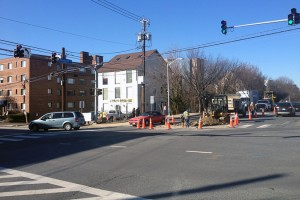 Existing site, at the intersection of Woodmont Avenue and Battery Lane