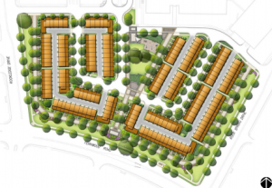 Site plan of EYA-proposed townhome community at Rock Spring Park, via Montogmery County Planning Department