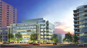 Rendering of the office building originally planned for the existing gas station site at 8280 Wisconsin, via Bethesda-Chevy Chase Regional Services Center
