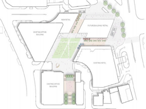 Brookfield proposal for a new building and new Bethesda Metro Plaza park, via Planning Department