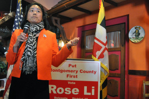 Republican District 16 House of Delegates candidate Rose Li speaks to supporters at a fundraiser in September