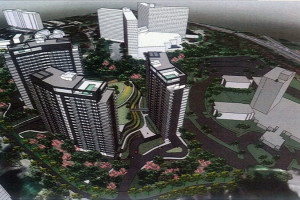A rendering of the three previously proposed high-rise apartment buildings on the Pooks Hill Marriott site before the minor master plan for the area was stalled, via Planning Department