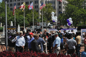 Purple Line supporters gather in August 2013 for the announcement of a public-private partnership on the Purple Line