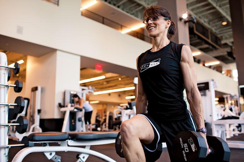 Personal trainer Nancy Accetta works out at Equinox Bethesda. Photo by Francis Tatem
