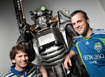 Bethesda Softworks executive producer Todd Howard (left) and vice president Pete Hines.