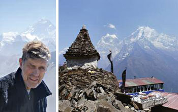 Left: The author at Gokyo Peak; Right: The view overlooking a teahouse with Ama Dablam in the background.