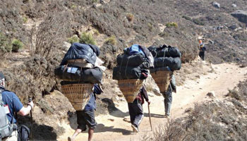 Porters head up the trail bearing loads of 70 pounds or more.