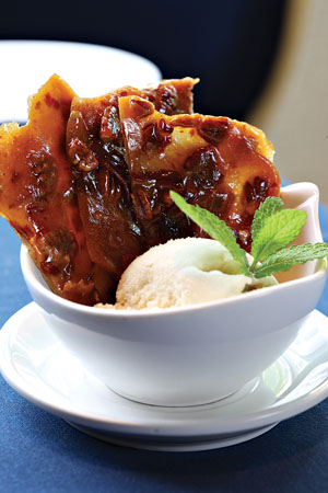 Friedman's pig brittle, served here with vanilla ice cream, offers sweet-and-salty flavor.