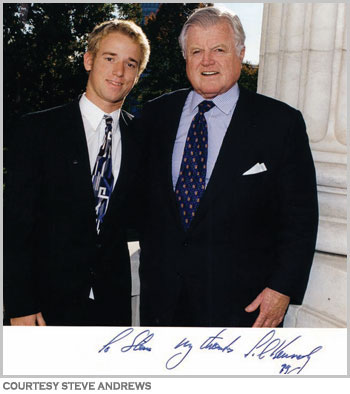 Kensington's Steve Andrews spent part of his gap year interning with Sen. Ted Kennedy.