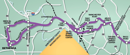 The Proposed Purple Line: The 16-mile, light-rail line would make mixed-use developments even more attractive. Graphic by Ellen Byrne