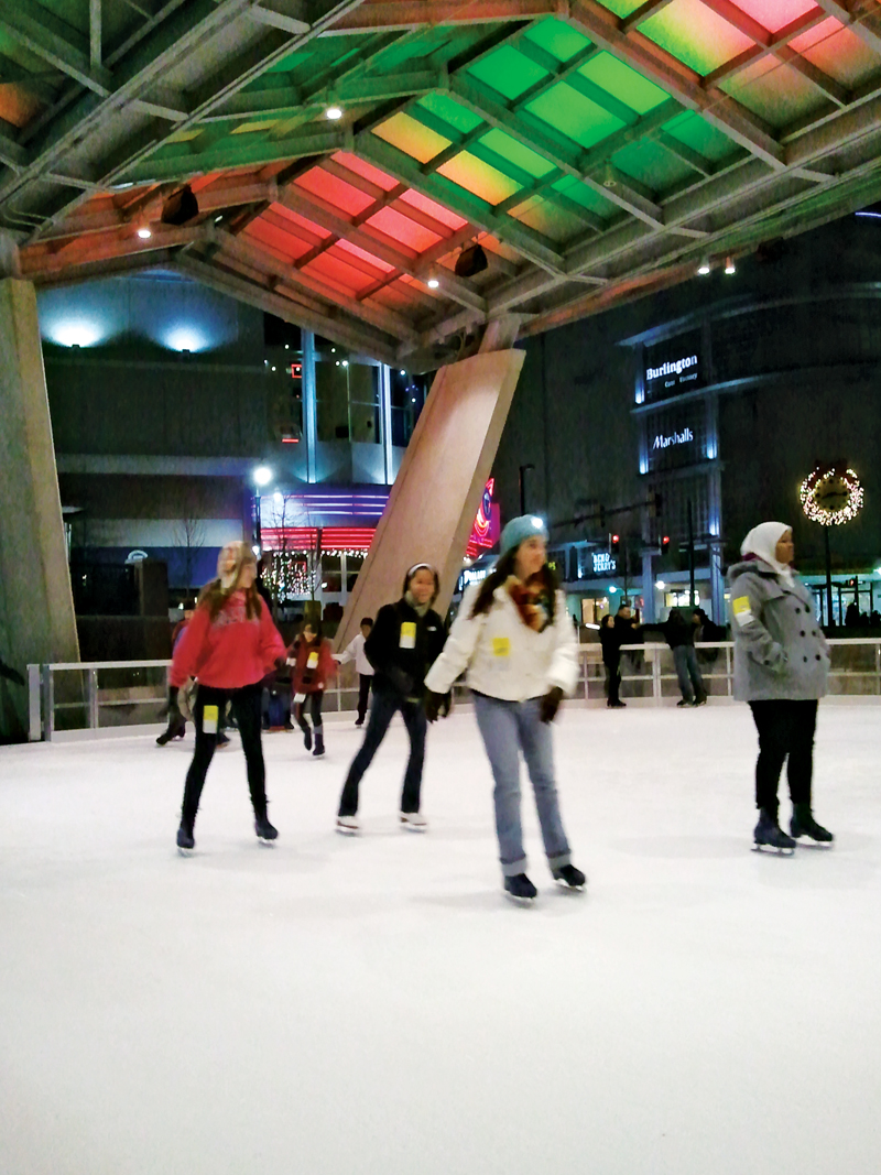 Ice skaters take a spin around  the rink at Veterans Plaza on Ellsworth Drive. Courtesy Photo.