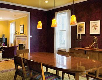 Loren Amdursky's dining-room walls have a ragged faux finish in purple, her favorite color.