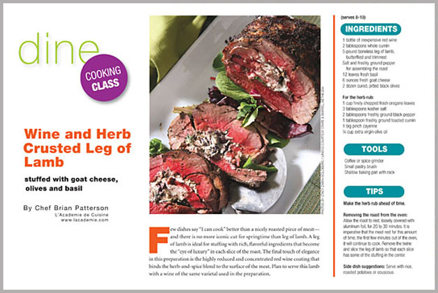 Wine and herb crusted leg of lamb bethesda magazine for Academie de cuisine bethesda md