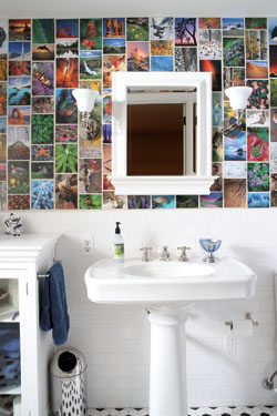 Julie Farkas wallpapered the basement bathroom with pages from Sierra Club date books, paying homage to nature and the environment.