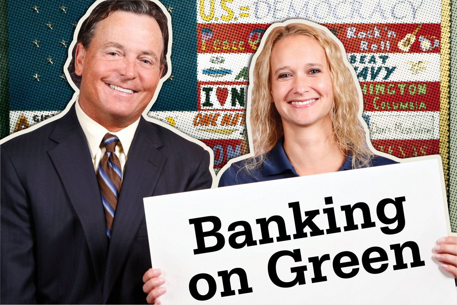 Bank President  and CEO John Lane,  pictured here with Vice President Jessica Fox, initially was urged by his daughters to go green. Photo credit: Jonathan Timmes