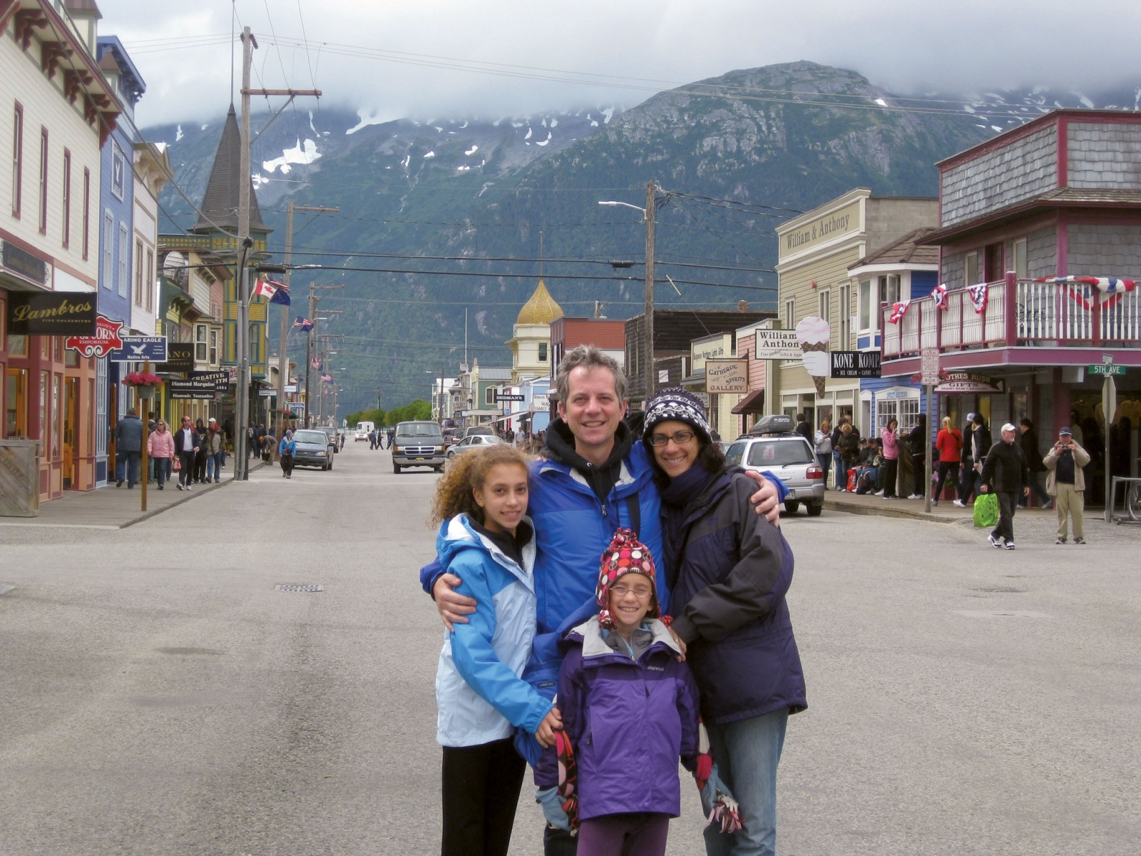 After the diagnosis,  Sorkin and his family-Lisa; Emma, 11; and Claire, 9-decided to travel. Here they are  in Skagway, Alaska. Photo credit: Daniel Arnold