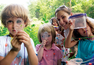 Katharine Leysath leads students on an insect hunt. Courtesy photo