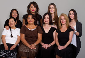 Back row, left to right: Silvia Platero, Cecilia Palomo, Ashleigh Gottlieb, Skylar Ludwick. Front row, left to right: Arely Platero, Maria Palomo, Linda Gottlieb, Cindy Feldman