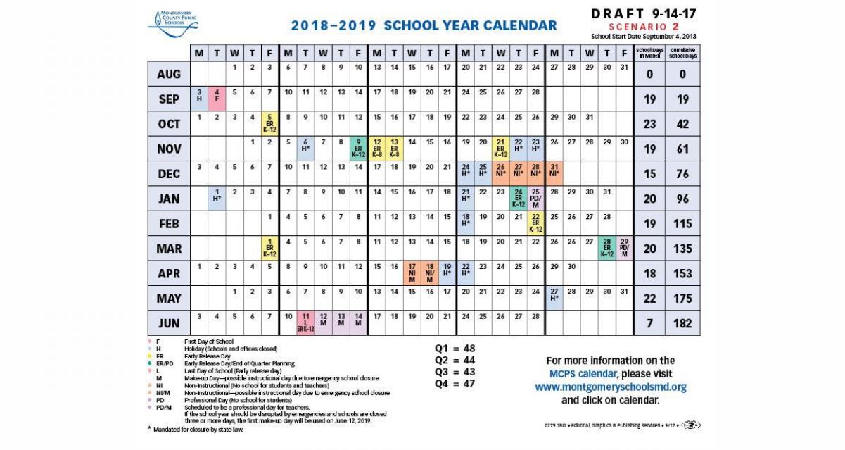 the drafted calendars for 2018 2019 take different approaches to sacrificing days from each of these categories