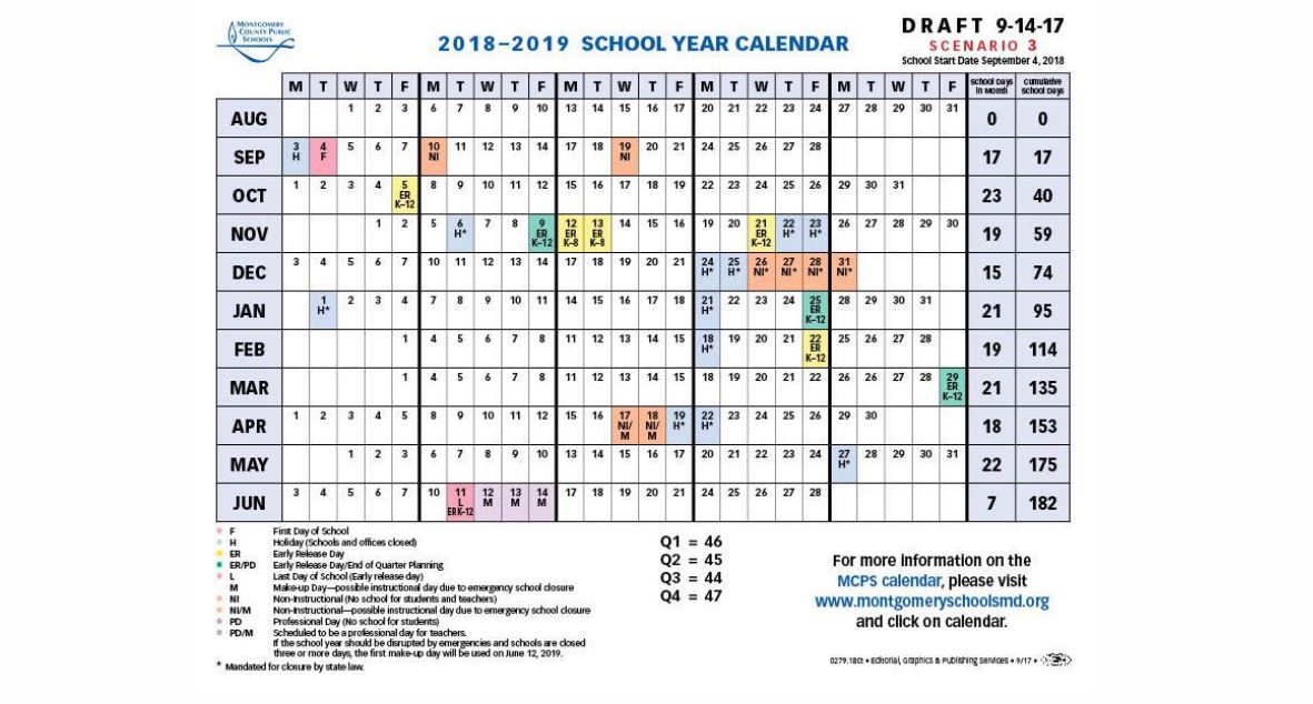 four of the scenarios for the 2018 2019 academic calendar click to expand via mcps