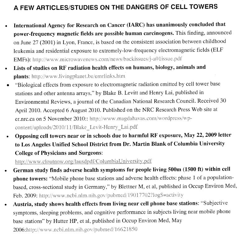 Flyer handed out at meeting by a parent with links to studies about dangers of cell towers.