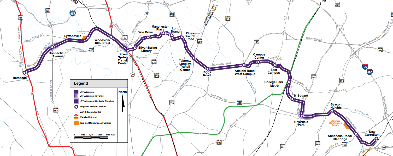 Details Emerging On Purple Line Construction Process Bethesda - Maryland map bethesda