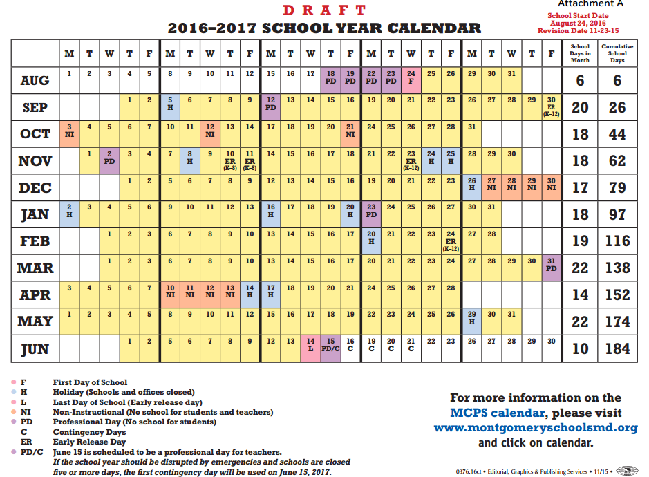Proposed 2016-2017 MCPS school