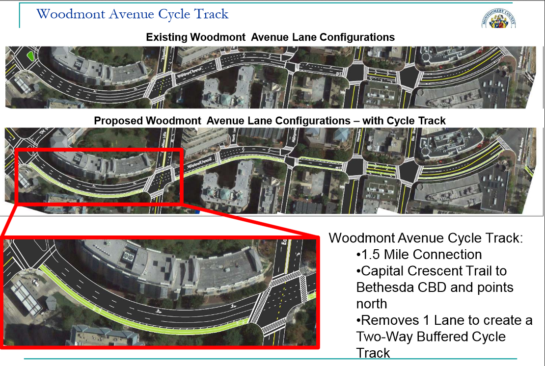 Woodmont Ave cycle track options